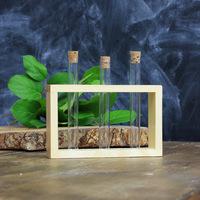 Деревянная подставка с пробирками (3 пробирки), натуральный, 300546