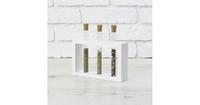 Стеклоприбор. Деревянная подставка с пробирками (3 пробирки), белый, 300543