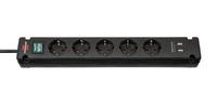 Удлинитель 3 м Brennenstuhl Bremounta, 5 розеток, 2 USB, черный (1150660315)