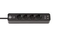 Удлинитель 1,5 м Brennenstuhl ECOLOR, 4 розетки, 2 USB, черный (1153240006)