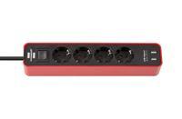 Удлинитель 1,5 м Brennenstuhl ECOLOR, 4 розетки, 2 USB, красный-черный (1153240076)