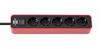 Удлинитель 1,5 м Brennenstuhl ECOLOR, 5 розеток, красный-черный (1153250070)