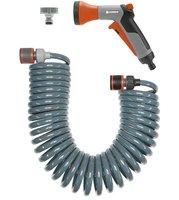 Комплект: шланг спиральный 10 м для террас с фитингами для подключения и наконечником для полива Gardena (18424-20)