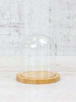 Стеклоприбор. Колпак стеклянный на деревян. подставке, натуральный, 80/105мм, (300554)