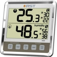 Цифровой термогигрометр с большим дисплеем, серебристый корпус RST 02404.