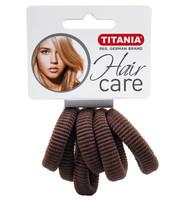 Резинки для волос TITANIA, 3,5 см, 6 шт., коричневые (7872)