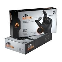 JSN50NATRIXBL Черные нескользящие одноразовые нитриловые перчатки, упаковка 50 шт.