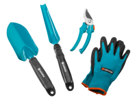 Комплект садовых инструментов базовый Домашнее садоводство (секатор, лопатка, совок для прополки, перчатки садовые) Gardena (08965-30)