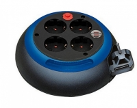 Удлинитель на катушке 3 м Brennenstuhl Comfort-Line, 4 розетки, черно-синий (1109230)
