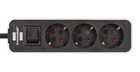 Удлинитель 1,5 м Brennenstuhl ECOLOR, 3 розетки, белый-черный (1153230020)