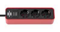 Удлинитель 1,5 м Brennenstuhl ECOLOR, 3 розетки, красный-черный (1153230070)