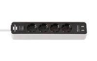 Удлинитель 1,5 м Brennenstuhl ECOLOR, 4 розетки, 2 USB, белый-черный (1153240026)