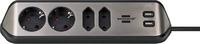 1153590410 Brennenstuhl удлинитель  Extension Socket ,угловой, 2м., 4  роз., 2 USB 3,1А, серебристо-черный