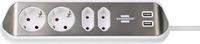 1153590420 Brennenstuhl удлинитель  Extension Socket ,угловой, 2м., 4  роз., 2 USB 3,1А, серебристо-белый