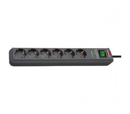 Сетевой фильтр 1,5 м Brennenstuhl ECO-Line 13.500A, 6 розеток, черный (1159710)