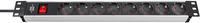 1390007018 Brennenstuhl удлинитель Alu-Line 19 дюймов, 2м., кабель черный 1,5мм2, 8 роз., выключатель,IP20