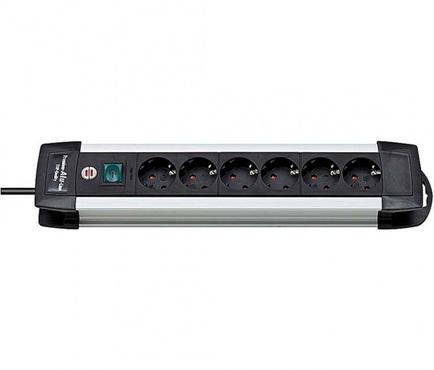 Удлинитель 3 м с выключателем Brennenstuhl Premium-ALU-Line, 6 розеток, черный (1391000016)