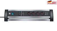 Сетевой фильтр настольный 1,8 м Brennenstuhl Alu-Office-Line 60.000А, 4 розетки, 2 USB (1395000534)