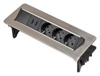 Удлинитель 2 м для врезки в столешницу Brennenstuhl Indesk Power, 3 розетки, 2 USB (1396200113)