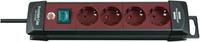 Удлинитель 1,8 м Brennenstuhl Premium-Line, 4 розетки, выключатель, черный/ бордовый