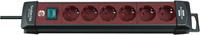 Удлинитель 3 м Brennenstuhl Premium-Line, 6 розеток, выключатель, черный/ бордовый (1951760100)