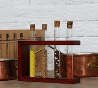 Стеклоприбор. Деревянная подставка с пробирками (4 пробирки), вишня (300549)