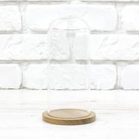 Стеклоприбор. Колпак стеклянный на деревян. подставке, натуральный, 80/185мм, (300556)