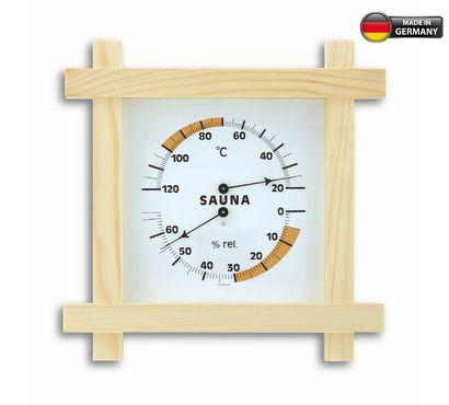 Аналоговый термогигрометр для сауны с деревянной рамой TFA 40.1008
