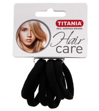 Резинки для волос TITANIA, 4 см, 6 шт., черные (7868)