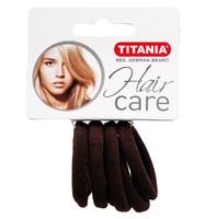 Резинки для волос TITANIA, 4 см, 6 шт., коричневые (7869)