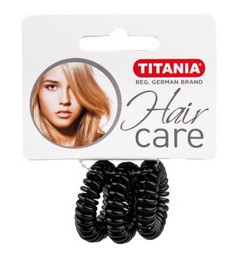 Резинки для волос TITANIA, 2,5 см, 3 шт., черные, пружина (7914)