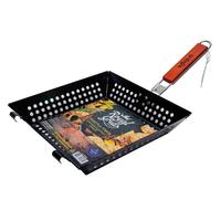 Решетка-гриль открытая 29х28,5 со складной ручкой и антипригарным покрытием, для морепродуктов и овощей, RoyalGrill 80-030