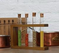 Стеклоприбор. Деревянная подставка с пробирками (4 пробирки), орех (300523)