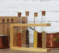 Стеклоприбор. Деревянная подставка с пробирками (4 пробирки), натуральный (300550)