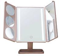 Зеркало с подсветкой настольное складное GESS uLike Gold (GESS-805 Gold)