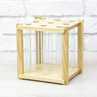 Стеклоприбор. Деревянная подставка 9 пробирок (лак),  (300641)