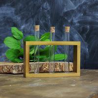 Стеклоприбор. Деревянная подставка с пробирками (3 пробирки), орех (300545)